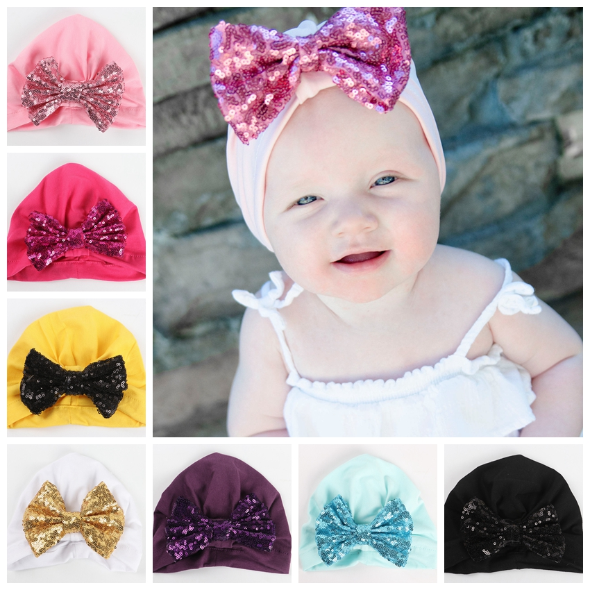 Yundfly Newborn Bow Turban Hat Cotton Blend Kids Cap Beanie Hair Knot Handmade Hats Accessories Christmas Gift