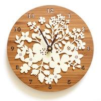 1 Pcs Acrylic Wall Clock Modern Design Flower 3D Sticker Creative Nordic Clocks Imitation Wood Clocks Wall Watch Home Decor