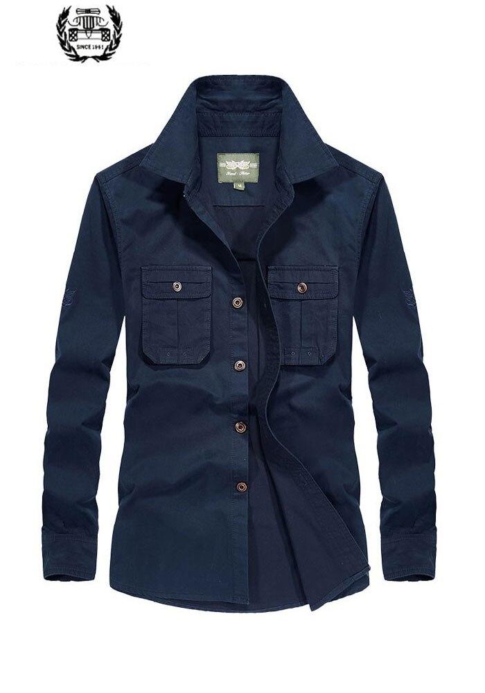 2019 automne printemps hommes robe chemises décontractées Cargo Style militaire chemise hommes droite à manches longues de haute qualité chemise poches