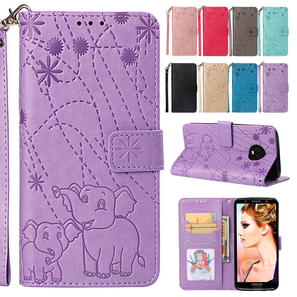Risiea Pu Leather Wallet Flip Case Phone Cover For Motorola Moto One G6 Plus Fireworks Elephant Texture Wallet Card Pocket