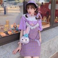 Princess sweet lolita dress Japanese sweet sleeveless dress V collar Leisure Style lattice Sling Dress cute women D1764