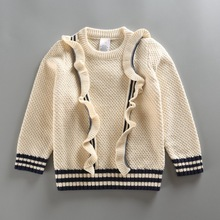 The new girls 7 – pin thick cotton   sweater age from 2-7T  Girls Autumn Sweater 2016 New Fashion Children sweater