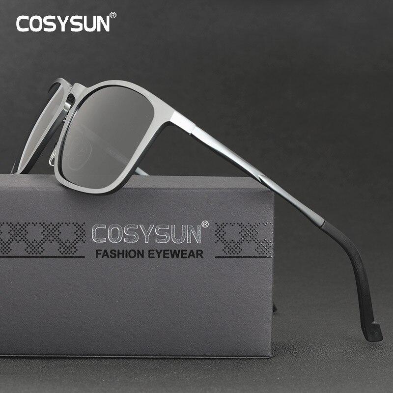 Мужские солнцезащитные очки COSYSUN, винтажные поляризационные очки из алюминиево магниевого сплава, UV400, CS0575 Мужские солнцезащитные очки      АлиЭкспресс