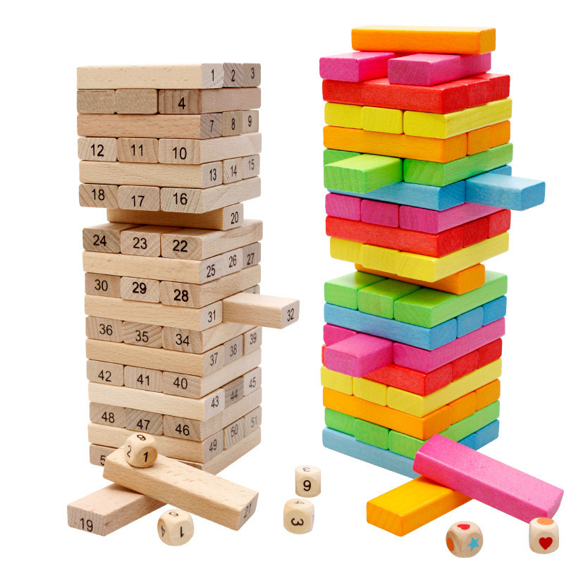 50 PCS  2 Style Building Blocks wooden Early Educational Toys Gifts For Baby Bebe Boys Girl Children Kids Domino Game Number Toy купить