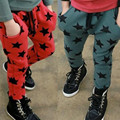 2016 children's clothing spring models boy pants boys and girls five-star printing children cotton pants harem pants trousers