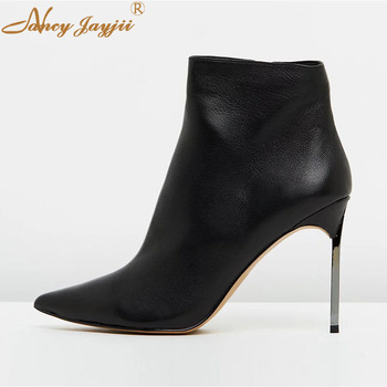 Genuine Leather Cow Leather Women Adult Boots Lady Shoes Ankle Zipper Pointed Toe Super High Thin heels Concise Nancyjayjii 2019