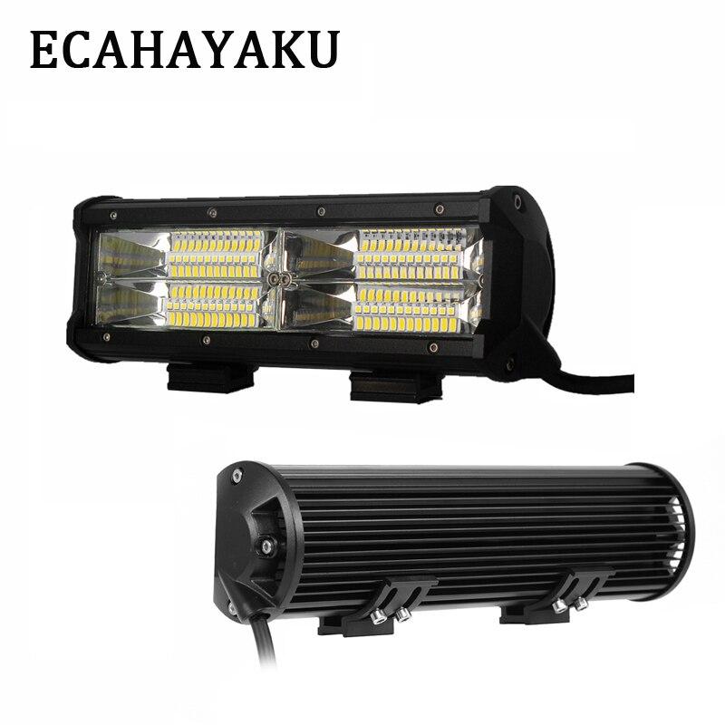 ECAHAYAKU nouvelle double rangée 9 pouces barre de lumière LED 144 W 6000 K faisceau d'inondation 12 V pour hors route 4X4 camions conduite travail barre lumineuse (paquet de 2)