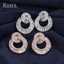 RAKOL Charm 2 Circle Round Cubic Zircon Bridal Big Stud Earrings For Women Luxury Wedding Jewelry Women Bijoux Factory price