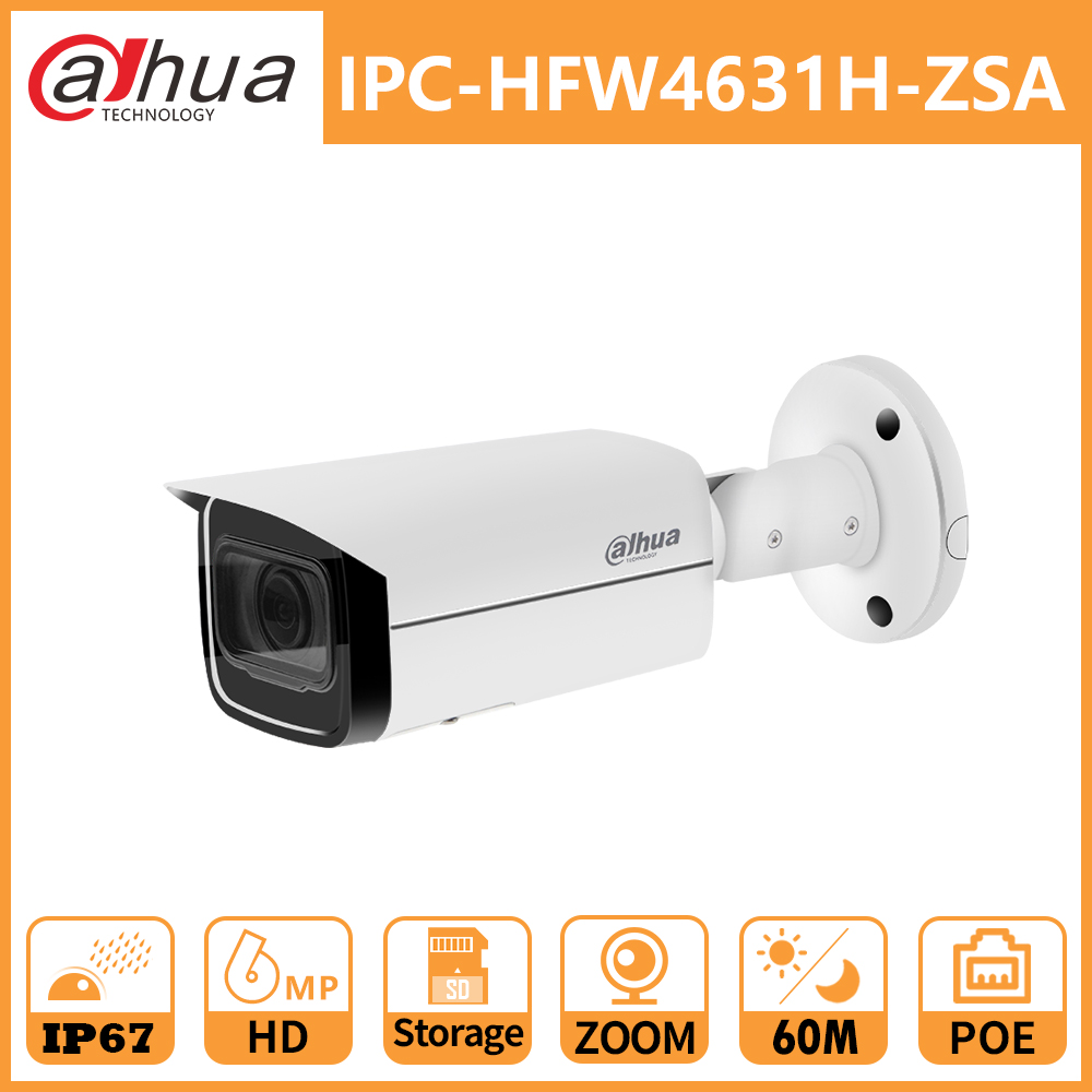 Dahua 6MP POE Bullet IP Camera Outdoor IPC-HFW4631H-ZSA 2.7-13.5mm 5X Zoom SD Card CCTV Camera MIC IR60M Replace IPC-HFW4431R-Z