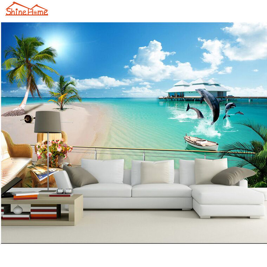 ShineHome-Modern 3d Photo Wallpaper Coastal Beach Dolphins 3d Wall Paper Mural Rolls Papel De Parede Para Quarto Papier Peint murals wall paper modern art top beach deep blue sea water ripples swim dolphins home decor ceiling large wall mural wallpaper