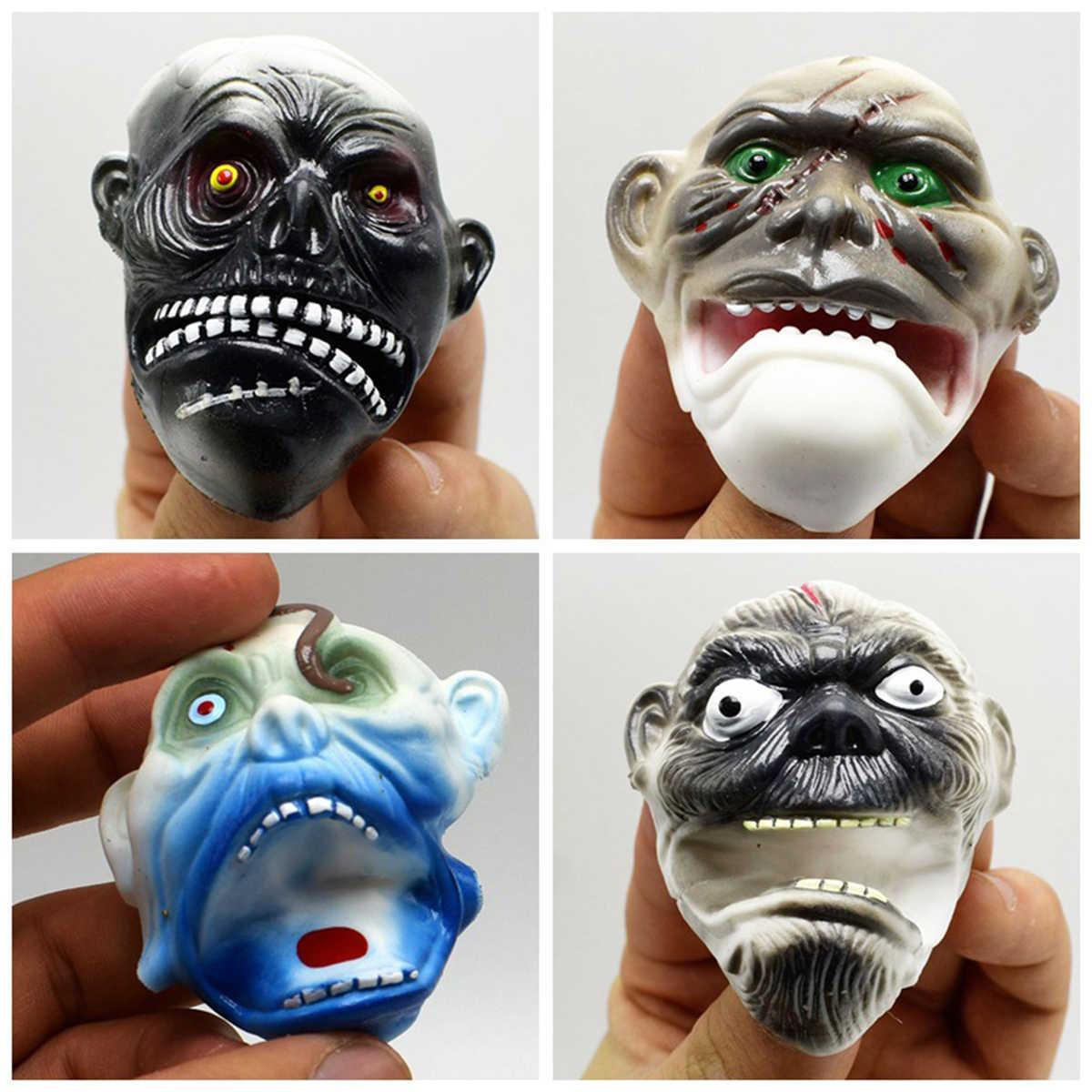 4 Pcs Hantu Wajah Boneka Tangan Lembut TPR Realistis Peran Bermain Mainan Hadiah untuk Pesta Halloween (Pola Acak)