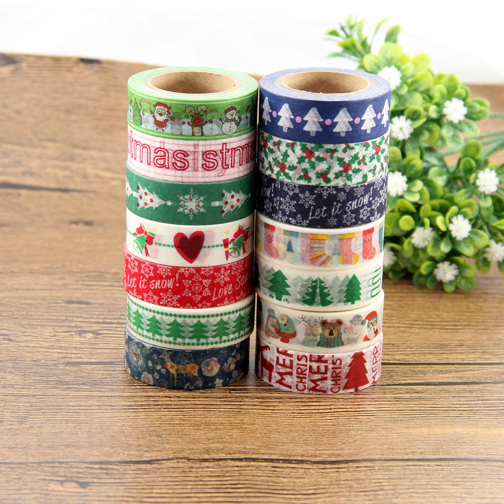 1X 15mm*10m Individual Shrink Christmas Washi Tape Cute Animali Pattern Masking Tape Single Sided DIY Paper Tape single sided blue ccs foam pad by presta