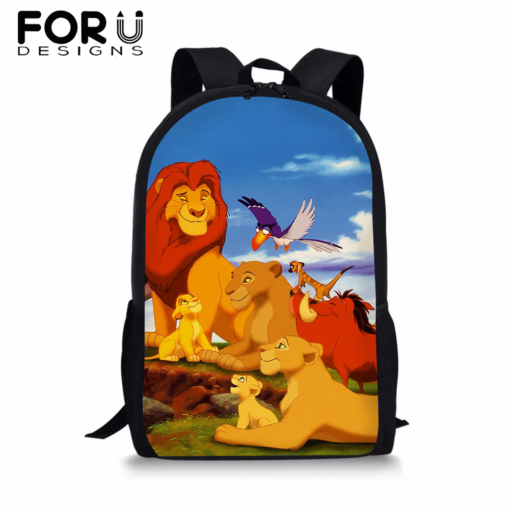 Cartoon Simba The Lion King School Backpack for Teenager Boys Girls <font><b>16</b></font> inch BookBag Baby Kids Student Satchel Mochila 2019 image