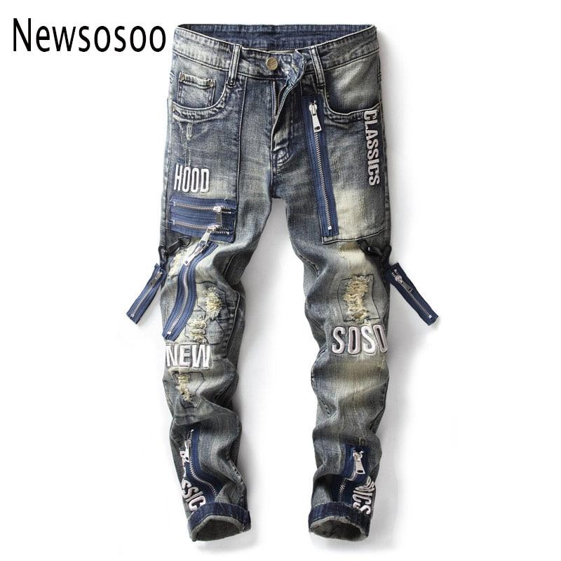 Mode Marke Europäischen Amerikanischen Stil männer slim jeans herren denim hose Gerade vintage blau loch zipper jeans für männer-in Jeans aus Herrenbekleidung bei  Gruppe 1