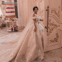 2019 nuovo abito da sposa con largo della spalla cinghie robe de soiree