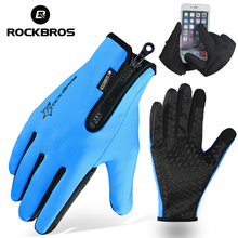 ROCKBROS Cycling Bike Bicycle Winter Gloves Fleece Thermal Warm Bike Bicycle Sport Gloves Full Finger Phone Gloves Equipment