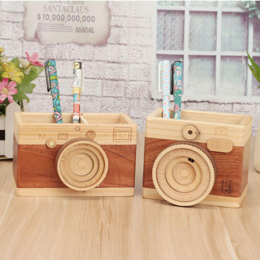 Vintage Camera Shape Wooden Pencil Holders For Desk Accessories Pencil Organizer Pen Holder Stationery Container Office Supplies