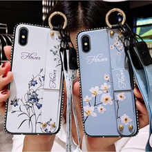 Wrist Strap Soft TPU Phone Case For iPhone 7 8 6 6S Plus X XS Max XR Vintage Flower Pattern Holder Silicone Cover With Lanyard
