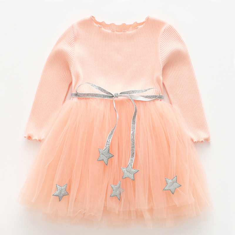 Las niñas 2018 estilo lindo vestido de las niñas de manga larga de diseño de malla de princesa vestido de niños ropa de invierno chica de la longitud de la rodilla fiesta vestido