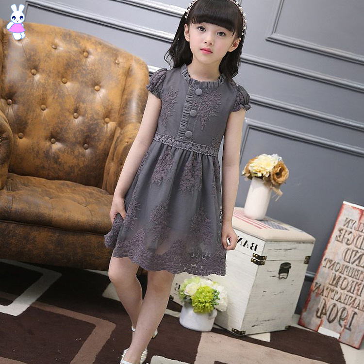 2017 Girl Evening Dress Children Clothing Summer Girls Party Dress Cotton  Knitting 2-14Y Kids Embroidery Short-sleeved Dress