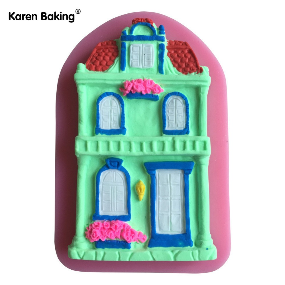 House design cake - New Arrival Design The Shape Of The Houses 3d Silicone Mold Chocolate Fondant Cake Decorating Tools