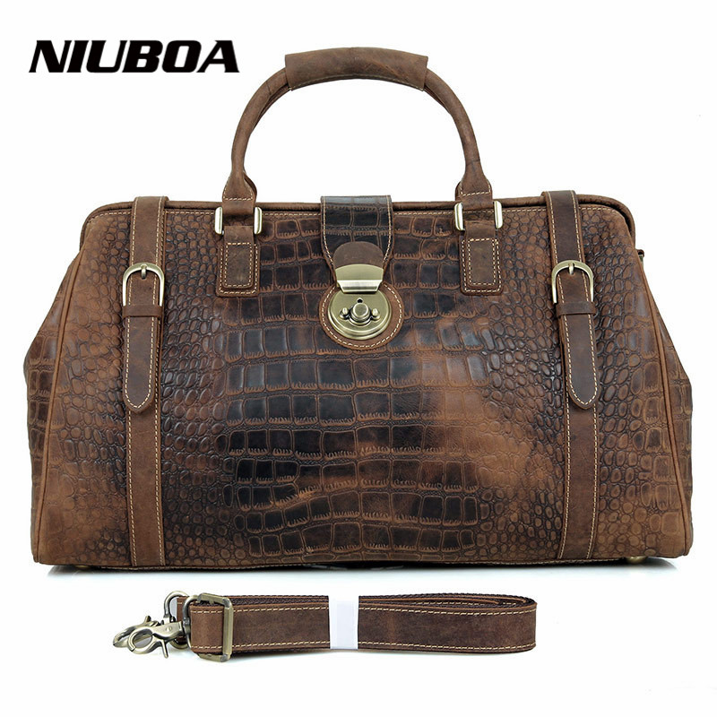 NIUBOA Men's Travel Bags Vintage 100% Genuine Leather Big Capacity Bags Waterproof Weekend Duffle Cowhide Travel Bags niuboa 100
