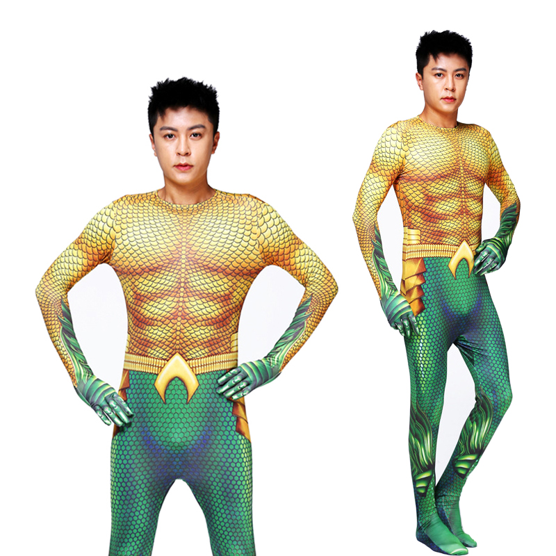 Aquaman Cosplay Costume Adult Kids Costume Superhero Arthur Curry  Aquaman Costume For Men Halloween Costume For Kids Adult