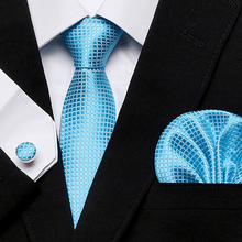New Clasic Solid blue Tie for Men Silk Fabric Jacquard Woven Hanky Cufflinks Set Designer Fashion Ties 8cm wide