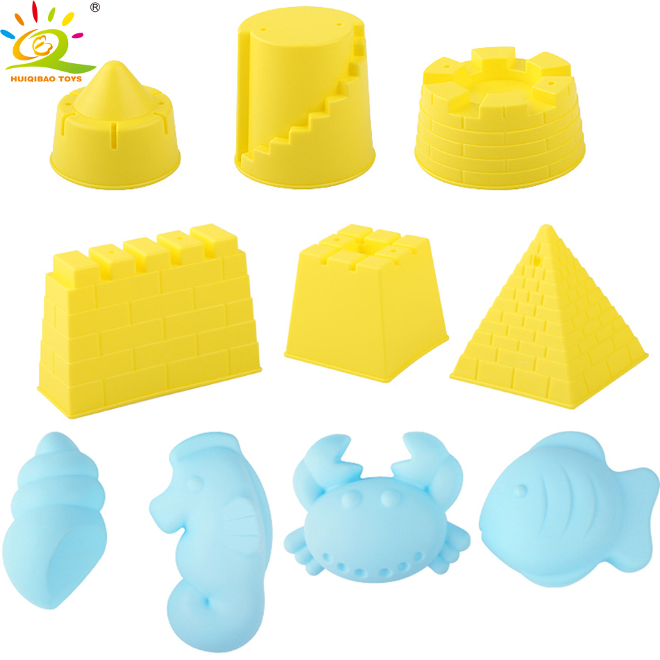 HUIQIBAO TOYS 2Style Summer Beach Smooth Soft Rubber Castle Animal Model mould Playing Sand Water Tools Outdoor Toys for Chidren