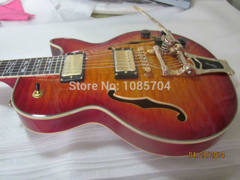 Free shipping jazz hollow guitarra/lp custom sunburst color maple flame top/with bigsby electric guitar/oem guitar in china