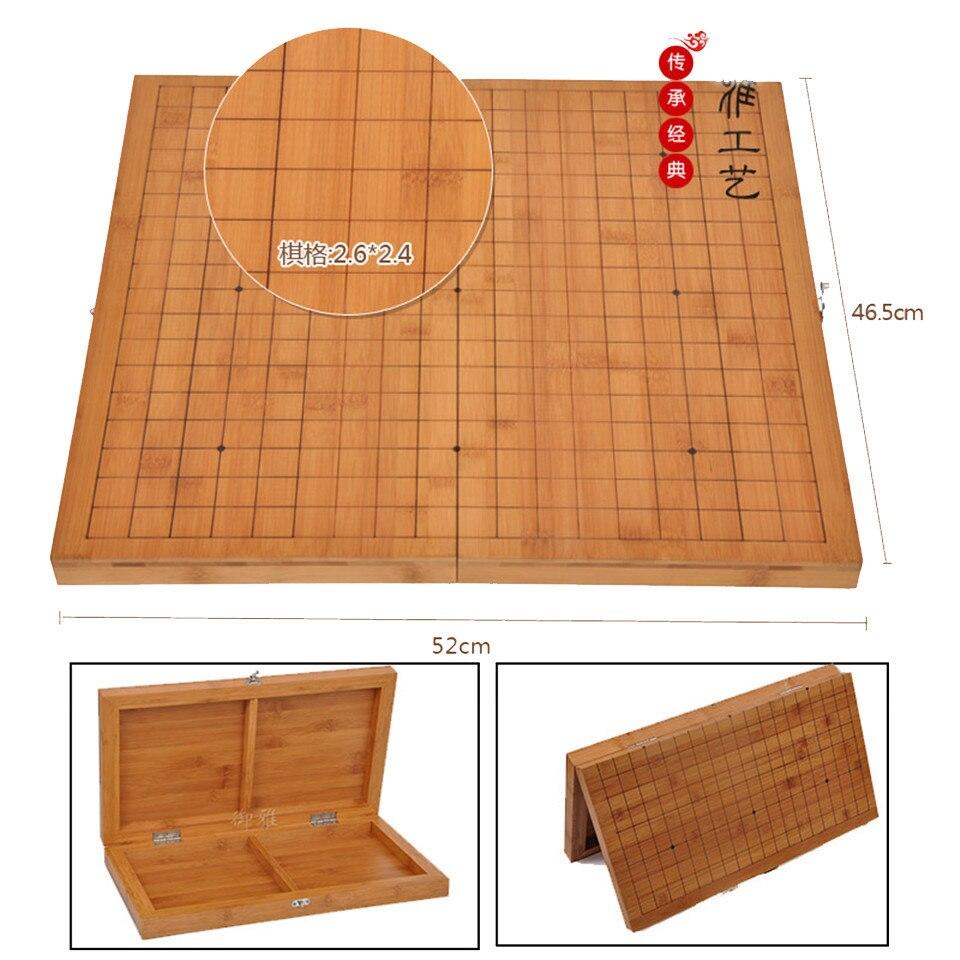 BSTFAMLY Go échecs 19 échiquier de route 52cm * 46.5cm * 3cm pliable bambou damier vieux jeu de Go Weiqi conseil pour 2.2cm pièces 43