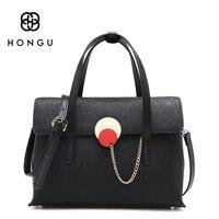 HONGU 2017 New Female Genuine Leather Handbags Korea Trend Leisure Crossbody Shoulder Bag Buckle Solid Tote