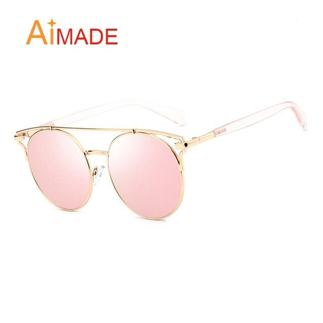 bf2826fcf37c0 Aimade Fashion Flat Top Oversized Cat Eye Sunglasses Women Vintage Big Round  Lens Mirror Cateye Sun Glasses For Ladies Eyewear