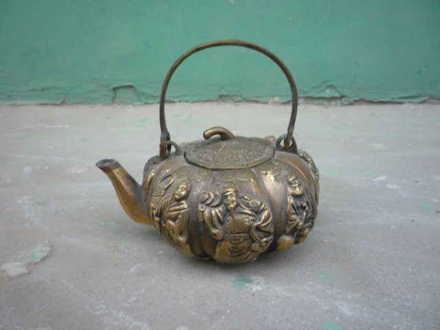 rare Old Qing Dynasty  copper teapot,carving 8 fairy &with mark, best collection&adornment, free shipping