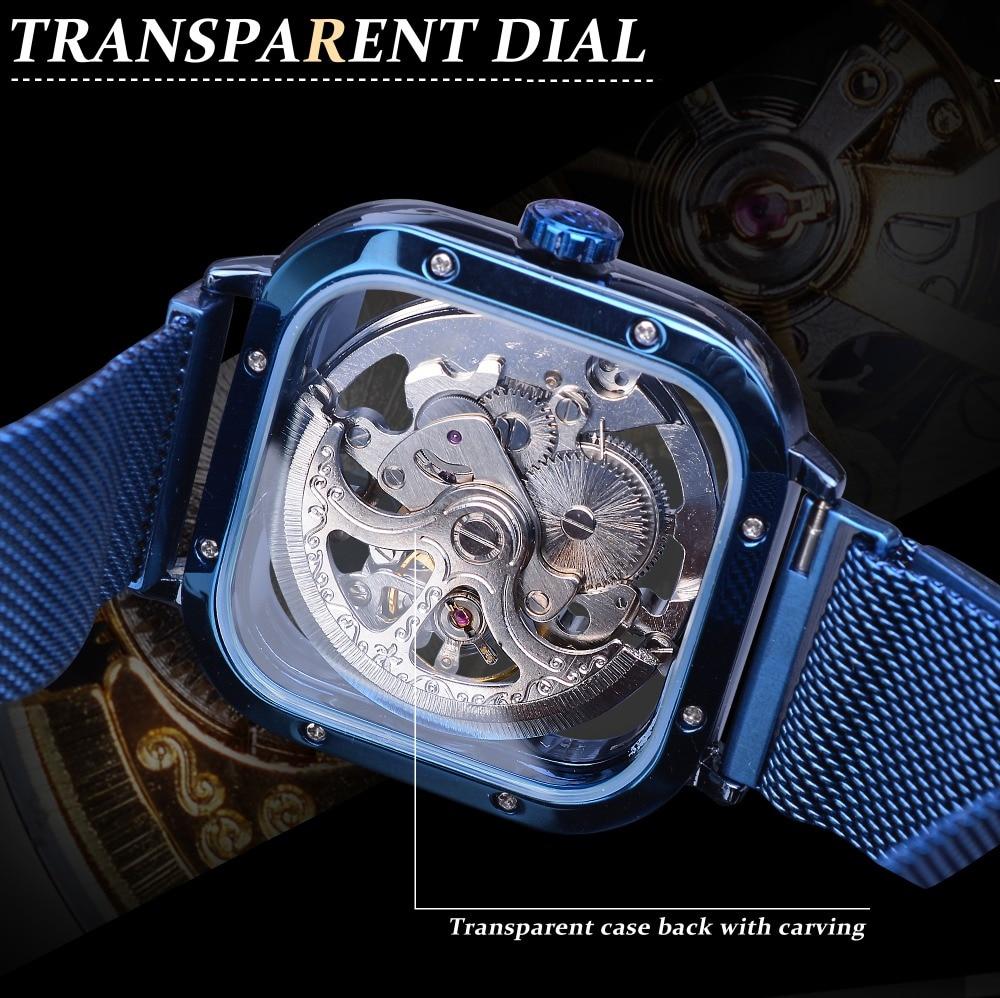 HTB1rEqkaMmH3KVjSZKzq6z2OXXaW Forsining Blue Watches For Mens Automatic Mechanical Fashion Dress Square Skeleton Wrist Watch Slim Mesh Steel Band Analog Clock