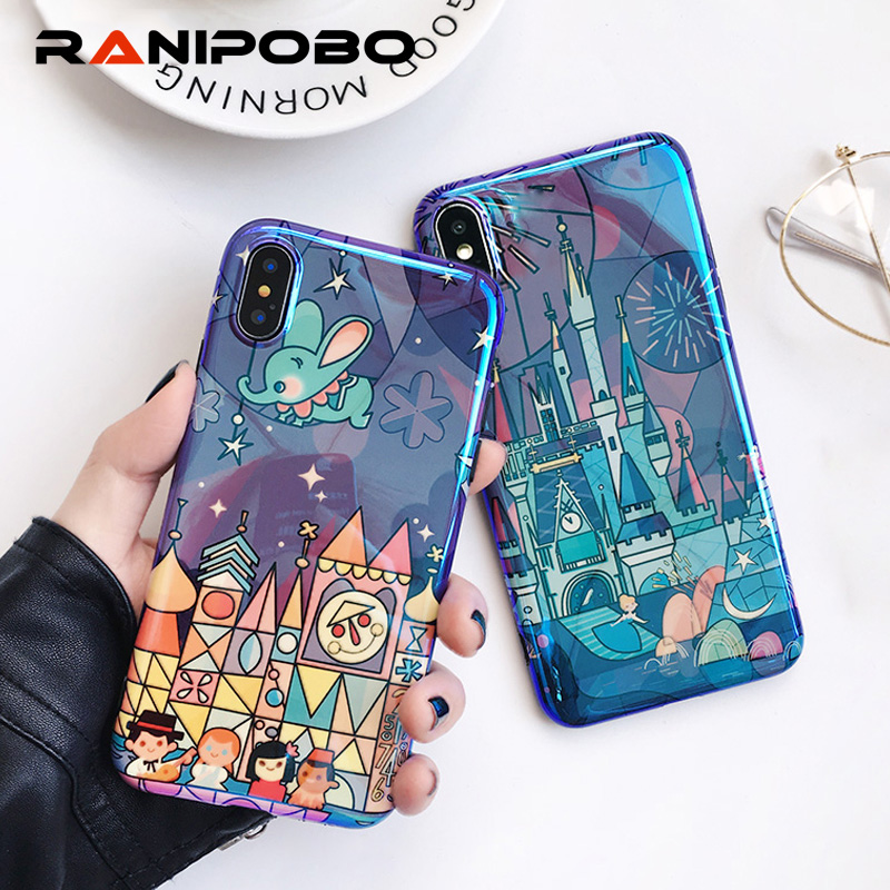 Blu Ray Fairy Tale Castle Fireworks Cartoon Case For iPhone 7 6 6S 8 Plus Phone Cases Soft Back Cover For iPhone X image
