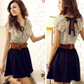 2014 Korean Women Summer New Fashion Chiffon Dress Short-sleeve Dots Polka Waist Mini Beige+Black Free Shipping F3132