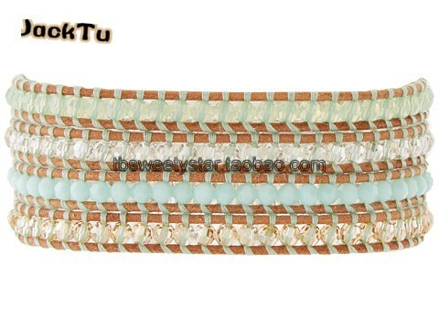 amazone color crystal beads leather wrap bracelet with blue thread