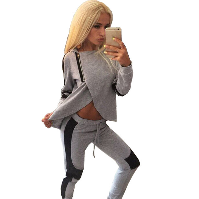 Women's Casual Sportwear Suits Zipper Irregular 2018 Sexy Splice Crop Top And Pants Sets Tracksuit Two Piece Set For Women