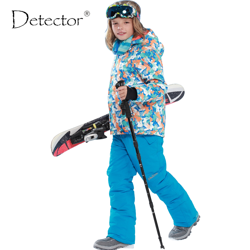 Detector Children winter clothing set windproof ski jackets+pant kids winter snow sets boys outdoor warm suit Boys Ski Sets 2016 winter boys ski suit set children s snowsuit for baby girl snow overalls ntural fur down jackets trousers clothing sets