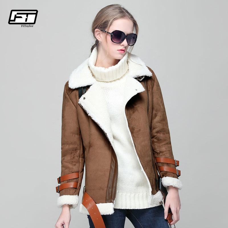 Fitaylor Autumn Winter Lambswool Short Biker Jacket Women Faux   Leather     Suede   Coat Long Sleeve Lambs Wool Motorcycle Overcoat