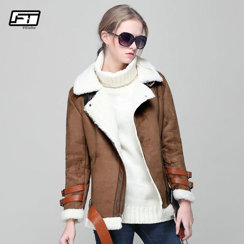 Fitaylor Autumn Winter Lambswool Short Biker Jacket Women Faux   Leather     Suede   Coat Long Sleeve Lambs Wool Motorcycle Overcoat