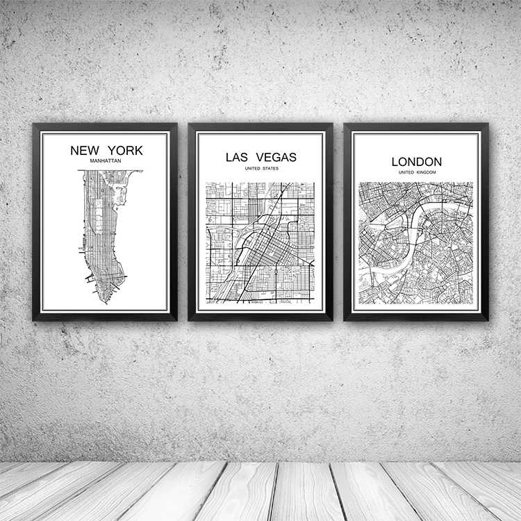 White World City Map of NEW YORK Customized Poster Decor Bar Pub Cafe Bedroom Retro Print Painting Wall Sticker 42x30cm