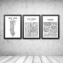 White World City Map of NEW YORK Customized Poster Decor Bar Pub Cafe Bedroom Retro Print Painting Wall Sticker 42x30cm(China)