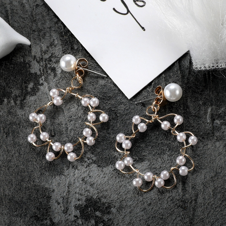 2019 New Korea Irregular Pearl Woven Ring Earrings Temperament Simple Earrings Fashion Jewelry in Stud Earrings from Jewelry Accessories