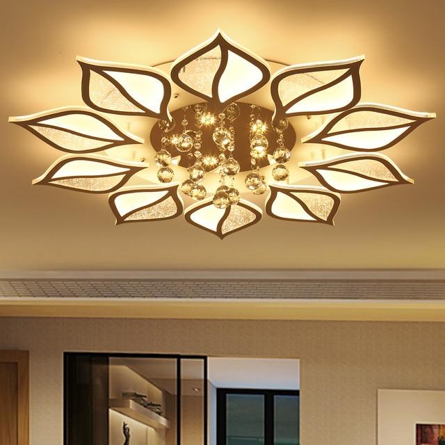 Surface monté moderne led plafond lustres en cristal pour hall salon