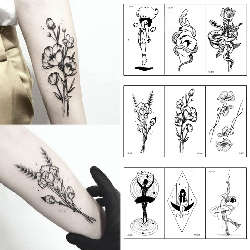 Hot 1PC Popular Ballet Black White Flowers Tattoos Sticker Temporary Drawing Body Art Fake Water Transfer 目