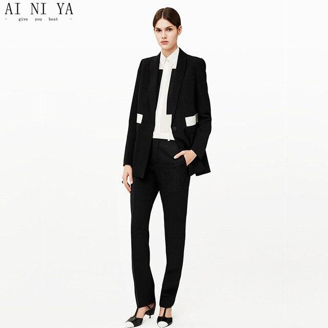d9b1f6078 BLANCO + Negro DISEÑOS mujer negocios Trajes 2 unidades conjunto Chaqueta  slim Ladies pantsuit elegante mujer