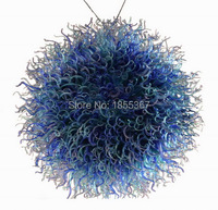 Free Shipping High Ceiling Blue Chinese Flush Mount Glass Ball Chandelier Light