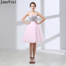 JaneVini Size 2-10 In Stock Pink Short Bridesmaid Dresses Silver Sequins Bow Prom Wedding Party Gowns Junior Tulle Dress Formal